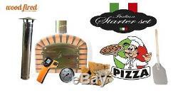 Brique Bois Extérieur Tiré Four À Pizza 70cm X 70cm Deluxe Supplémentaire Avec Cheminée Monter
