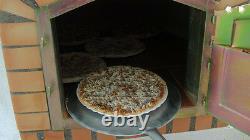 Brique Bois Extérieur Tiré Four À Pizza 90cm Suprême Rouge, Arc Orange, Porte Noire