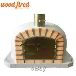 Brique Bois Extérieur Tiré Four À Pizza 90cm X 90cm Gris Clair Modèle De Luxe Supplémentaire