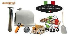 Brique En Bois Extérieur Tiré Four À Pizza Blanc 100cm X 100cm Supérieur Avec Arc Gris