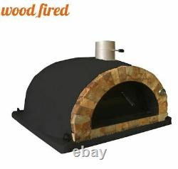 Brique Feu De Bois Extérieur Pizza Four Noir 100cm Pro Face De Roche Italienne