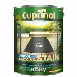 Cuprinol Anti Slip Decking Stain 5 Litres Urbain Ardoise. Rapide Courier Livraison 24hr