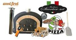 Four En Briques Bois Extérieur Feu Pizza 100cm X 100cm Supérieure En Noir