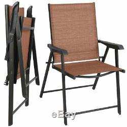 Lot De 2 Chaises Pliantes Patio Extérieur En Brique Rouge Avec Brown Noir Frame Métal