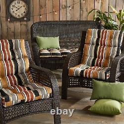 Porche Du Sud Porche Extérieure Brick Stripe High Back Chair Coussin, Ensemble De 2