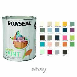 Ronseal Garden Paint 750ml 24 Couleurs For Wood Brick Terracotta Metal Outdoor