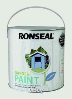 Ronseal Jardin Extérieur Peinture 2.5l Idéal Pour Clôture En Bois / Brique / Métal Bleuet