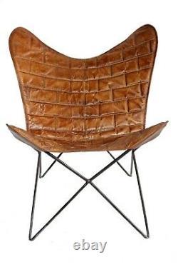 Support En Fer De Chaise Carrée De Papillon De Briques Et Chaise Extérieure Intérieure De Couverture En Cuir