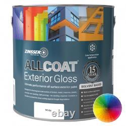Zinsser Allcoat Solvant Extérieur À Base De Matériaux Résistants Aux Intempéries Gloss White 2,5l